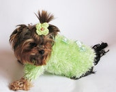 Hand Knitted Light Green Fluffy and Cozy Dog Sweater