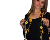 Hand Croched Floral Emerald Yellow Flowers Long Necklace Long Scarf
