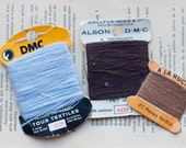 Vintage Darning Thread Cards from France - DMC and A La Ruche - Stocking Stuffer