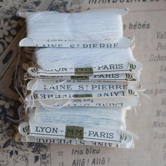 Vintage French Wool Darning Threads - White -10 cards - Laine St Pierre