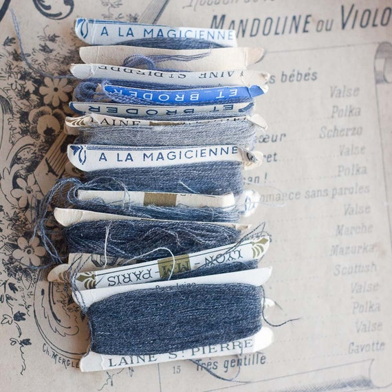 Vintage French Wool Darning Threads - GRAY -10 cards - Laine St Pierre