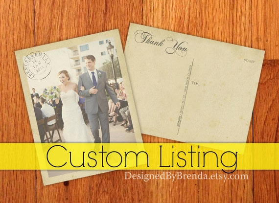 Reserved for Akemi - Vintage Wedding Thank You Postcards with Postmark - Set of 40 - Printed on 100 lb. Recycled Matte Stock