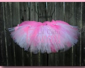 Hello Kitty Hot Pink, Pink and White Tutu with Satin Hello Kitty Ribbons - Infant, Baby, Toddler and Adult Sizes Available - Birthday Tutu