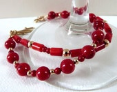 "Red Coral Bracelet with 14K Gold Filled Beads, Handcrafted Multistrand: ""Brilliant Sunset"""