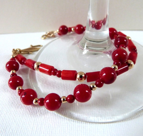 """Red Coral Bracelet with 14K Gold Filled Beads, Handcrafted Multistrand: """"Brilliant Sunset"""""""