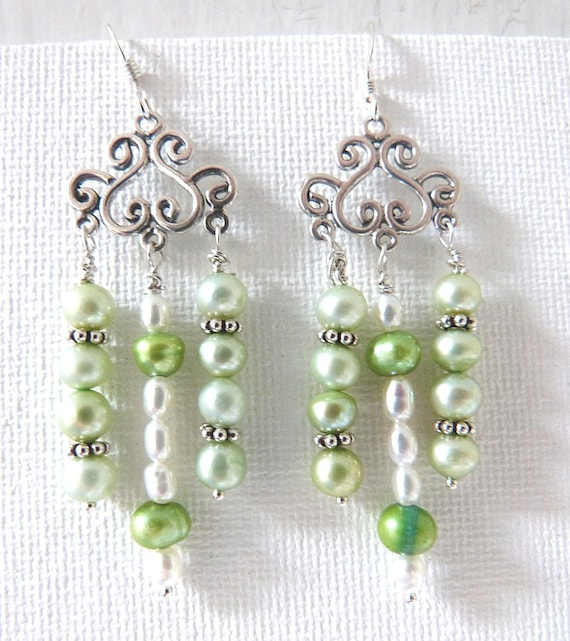 Pearl Chandelier Dangle Earrings Pale Green & White Pearls with Sterling Silver Handmade