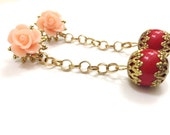 Vintage Inspired Funky Costume Jewelry featuring Pastel Pink Rose Lucite Cabochons and Cherry Red Bead Drops