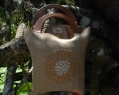 Two-tone embroidered  burlap purse with wooden handles on SALE 30% OFF