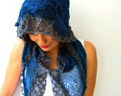 Tricot, Chiffon, Lace Scarf in Blue and Gray