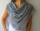 Gray Tricot Lace Scarf - Bohemian weddings, Special Ocassions