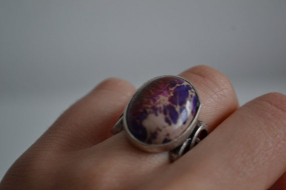 Vintage Purple copper Turquoise Stone Silver  Ring size 6