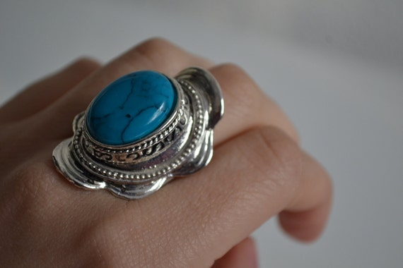 Vintage faux turquoise blue big silver ring adjustable size
