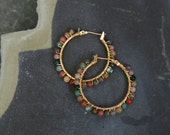 Tiny Semi-precious Stone Wrapped with 14kt Gold Wire on Plated Earrings