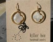 Mother of Pearl Quatrefoil in Gold Vermeil Hoop Earrings