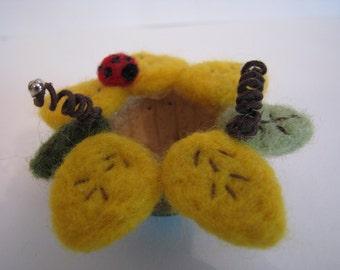 small gourd vessel bowl, sunflower, needle felted, flower, ladybug