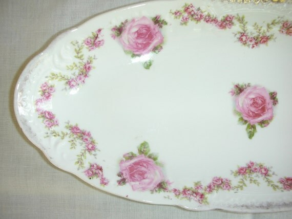 Vintage Pink China Roses Oblong Oval Celery Relish Dish Bowl