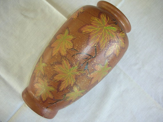 Vintage Handmade Brown Gold Green Ceramic Vase with Gold Speckles