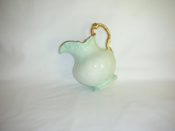 1958 Mint Green Creamer Cream Pitcher Handmade with Gold Trim