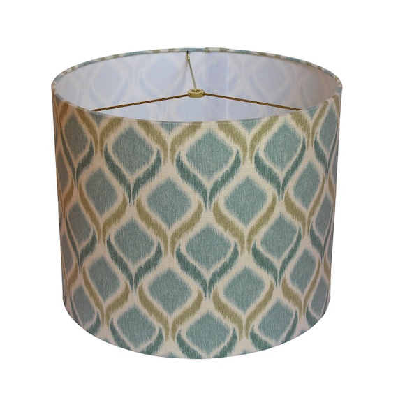 "Ikat Drum Lampshade - 14""x11 1/2"" , handcrafted, teal ikat Mill Creek fabric"