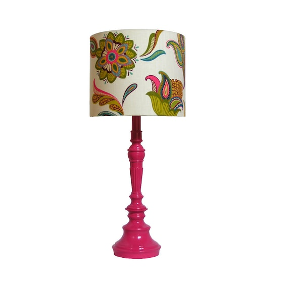 "Vintage Pink Lamp, updated -- hot pink -- custom constructed shade covered with Covington ""Savannah Paisley Cream"""