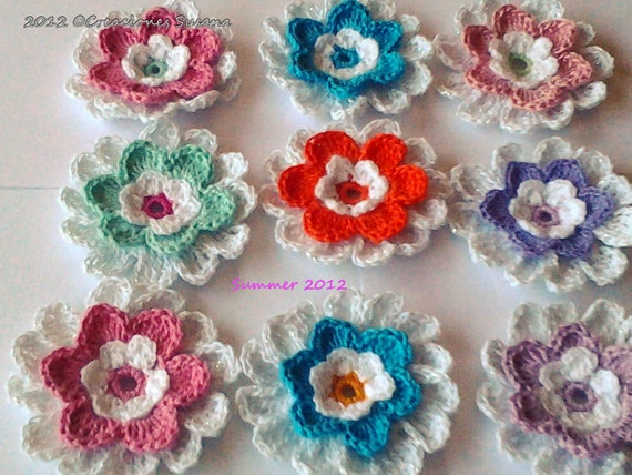 Set 4 colored African Daisies Flower crocheted