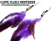 Recycled Bullet Shell Purple Feather Earrings