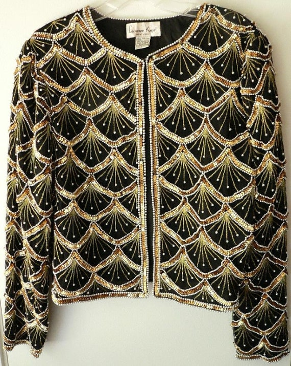 HOLD FOR PIA   80's Laurence Kazar of New York Pearl and Gold Sequin Evening Jacket Sz L