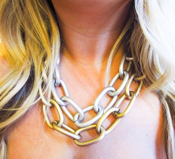 ON SALE: Double Strand Linked Necklace Gold & Silver