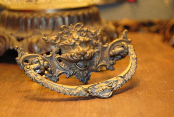 SALE ANTIQUE old victorian gargoyle demon lion head brass drawer pull knob vintage collectors piece