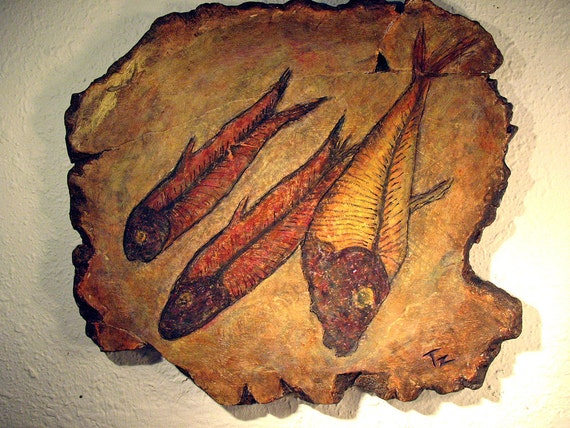 Fish Fossil 2  -  Original  hand painted Acrylic wall hanging, fresco, wall sculpture  16w x 14h