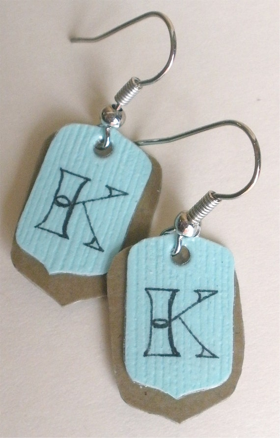"Initial Earrings, ""K"" Monogram Earrings, Tag Earrings"