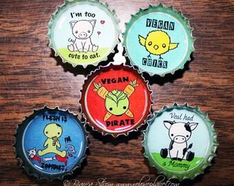 """Vegan 1"""" Bottle cap Magnet Set of 5 -- Veg Kawaii Cute Animals Positive"""