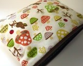 Cute Japanese Fabric - Woodland Creatures - Makeup, Cosmetic Bag - Canvas Bag - Zippered Pouch