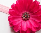 Baby Headband - Baby Flower Headband - Fuschia Pink Baby Girl Flower Headband with Rhinestones - Infant To Toddler Fushcia Flower Headband