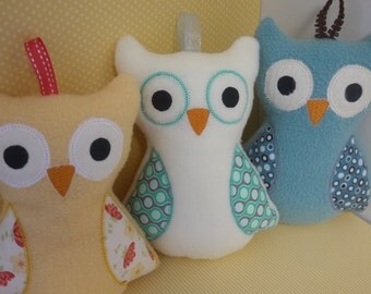 Custom Stuffed Owl Toy - Baby Plushie Toy - Fleece Owl Toy