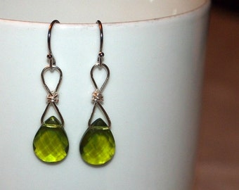 Olive Green Earrings - Swarovski Green Earrings - Crystal Earrings - Green Drop Earrings