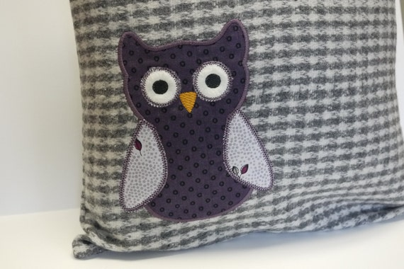 Owl Pillow - Owl Throw Pillow - Wool Pillow with Embroidered Owl Applique