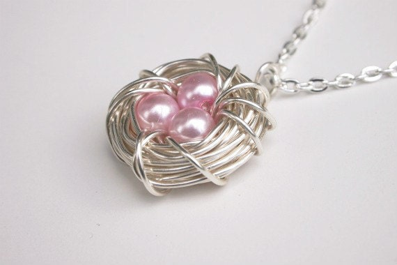 Birdnest Necklace - Wire Nest - Birds Nest Jewelry - Pink Pearl Necklace