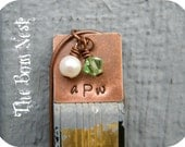 Personalized Antique Copper Stamped Metal Necklace with Pearl and Birthstone