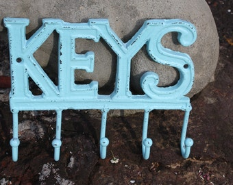 KEYS Key Rack/Shabby Chic/Cottage Chic Sea Blue