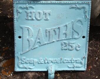 SEA BLUE Cast Iron Bathroom Hook / Sign Wall Hook