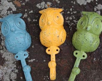 PICK YOUR COLOR A Trio of Cast Iron Owl Wall Hooks/Coat Hooks/Racks