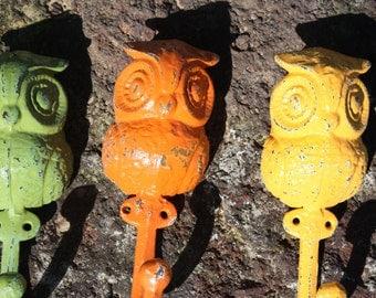 A Trio of Cast Iron Owl Wall Hooks/Coat Hooks/Racks