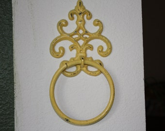 Cast Iron Hand Towel Holder/Yellow Fleur de lis/Bathroom Fixture/Shabby Chic/Cottage Chic