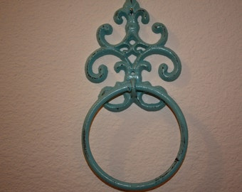 Cast Iron Hand Towel Holder/AQUA Fleur de lis/Bathroom Fixture/Shabby Chic/Cottage Chic