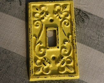 BRIGHT YELLOW Cast Iron Ornate Single Switch Plate / Fleur de lis / Light Switch Plate