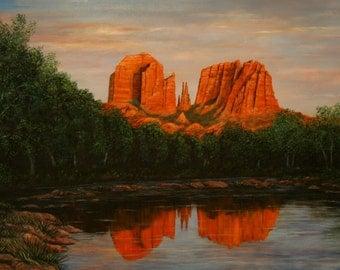 "Sedona Arizona Landscape Limited Edition Giclee of  ""Cathedral Rock,"" - 24x36"""