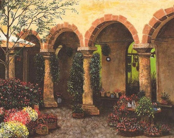 "Wall Decor Original Oil Painting ""Romantic Courtyard"" 18x36"""