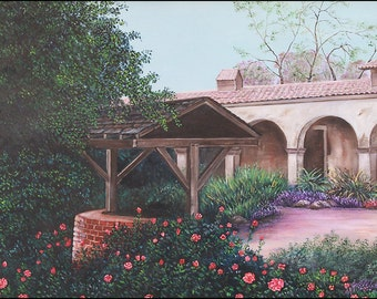 "California Landscape Wall Decor Giclee Print ""The Well at San Juan Capistrano"" 18x24"""
