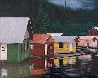 "Wall Decor Original Oil on Canvas, ""Alaskan Logging Village"" 24x36"""